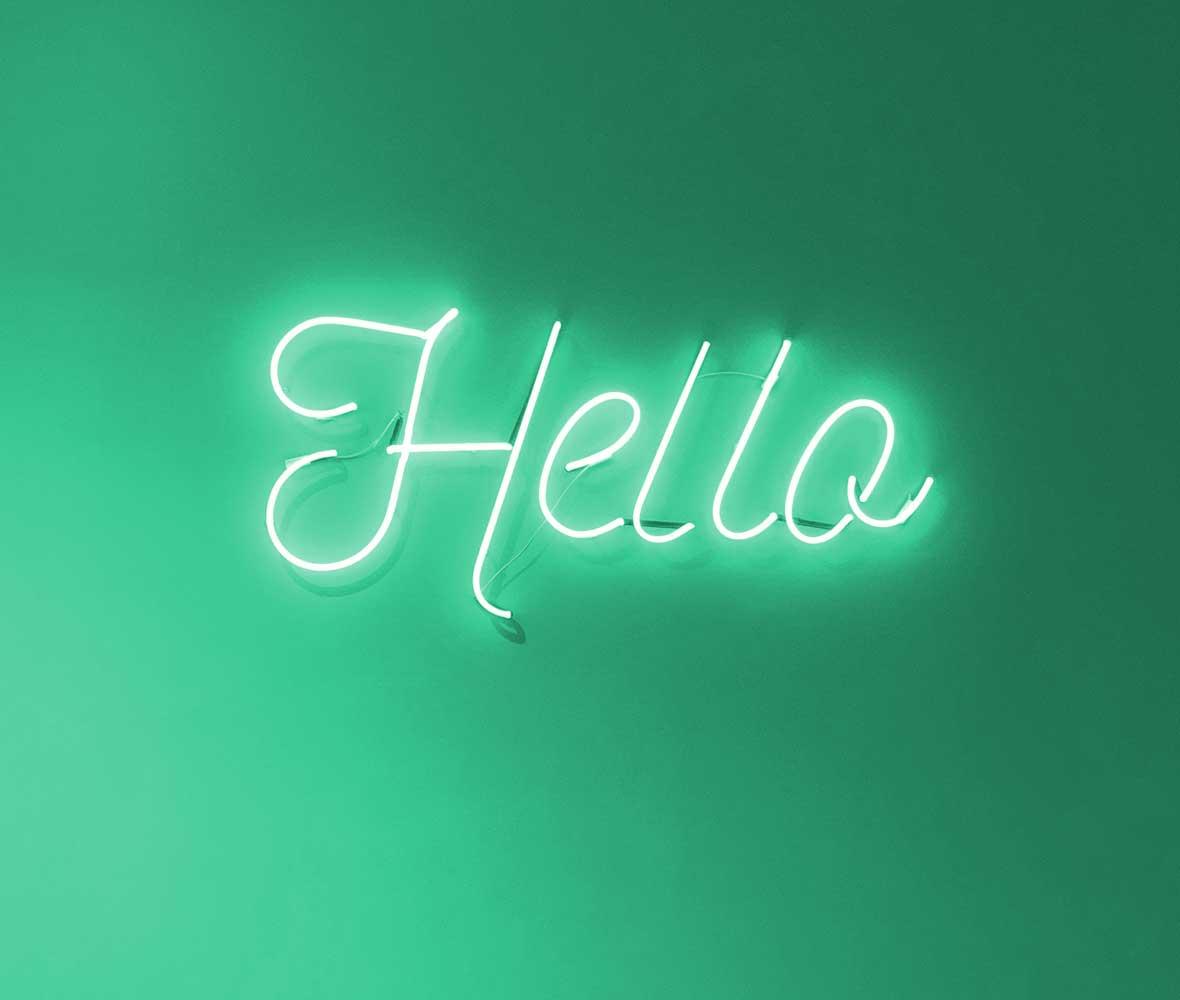 Neon Sign Hello Contact Card